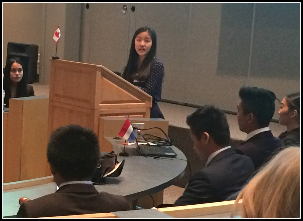 Moscrop student Wendy Tsai acted as the Chief of Staff at BMUN. She has been accepted into prestigious Johns Hopkins University.
